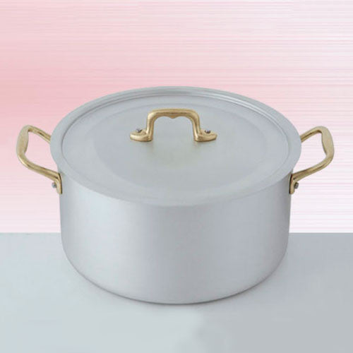 Ottinetti Brushed Aluminum Deep Sauce Pan with Copper Lid, 28-cm / 11.02-in