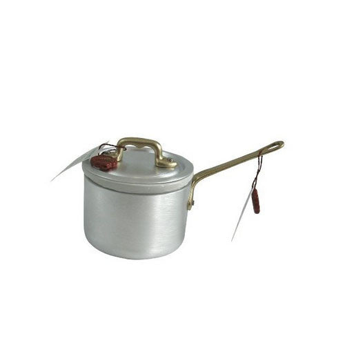 Ottinetti Brushed Aluminum Sauce Pan With Copper Handle, Lid & Ceramic Insert, 10-cm / 3.9-in