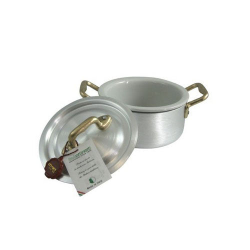 Ottinetti Brushed Aluminum Casserole With Copper Handles, Lid & Ceramic Insert, 12-cm / 4.7-in