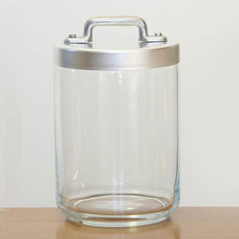 Ottinetti Glass Jar With Brushed Aluminum Lid, 1-lt / 1.06-qt
