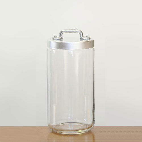Ottinetti Glass Jar With Brushed Aluminum Lid, 1.50-lt / 1.58-qt