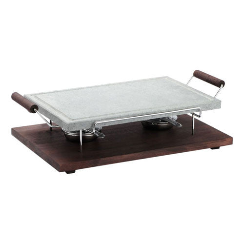 Bisetti Rectangular Cooking Stone with Chrome Frame And Beechwood Base in a Wenge Finish with Two Burners