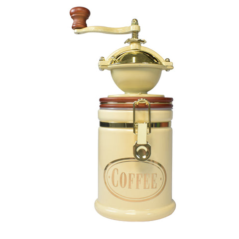 Bisetti Manual Coffee Grinder With Large Cream Attached Ceramic Storage Container