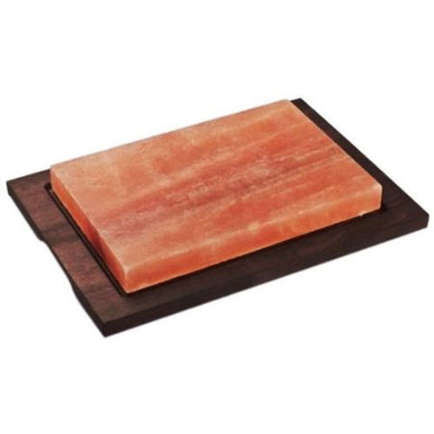 Bisetti Rectangular Salt Stone Cooking Plate With Beechwood Base In a Wenge Finish