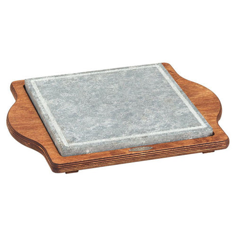 Bisetti Square Cooking Stone with Plywood Birch Base in a Walnut Finish