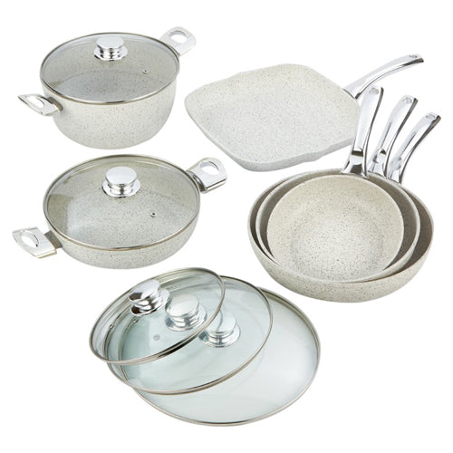 Bisetti 11-Piece Nonstick Aluminum Cookware Set In Stonewhite Finish With Stainless Steel Handles