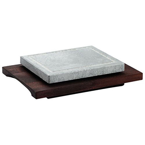 Bisetti Rectangular Cooking Stone with Beechwood Base in Wenge Finish (Two sizes)