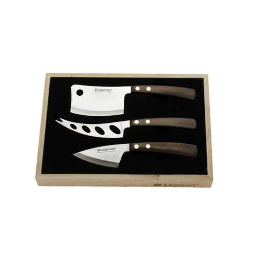 Legnoart Latte Vivo Cheese Set In Wooden Crate, Dark Wood
