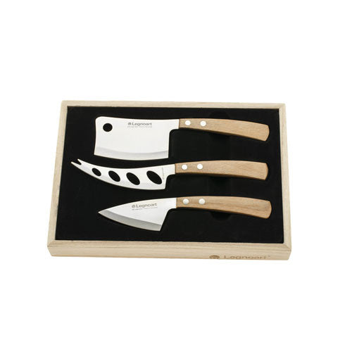 Legnoart Latte Vivo Cheese Set in Wooden Crate, Light Wood