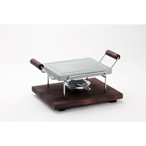 Bisetti Rectangular Cooking Stone with Chromed Frame and Beechwood Base in a Wenge Finish With One Burner