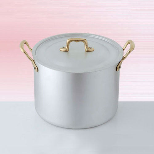 Ottinetti Brushed Aluminum Stock Pot with Copper Lid, 24-cm / 9.45-in