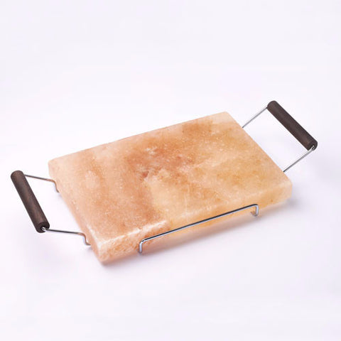 Bisetti Rectangular Salt Stone, Metal Frame, Wooden Handles and Wenge Finishing