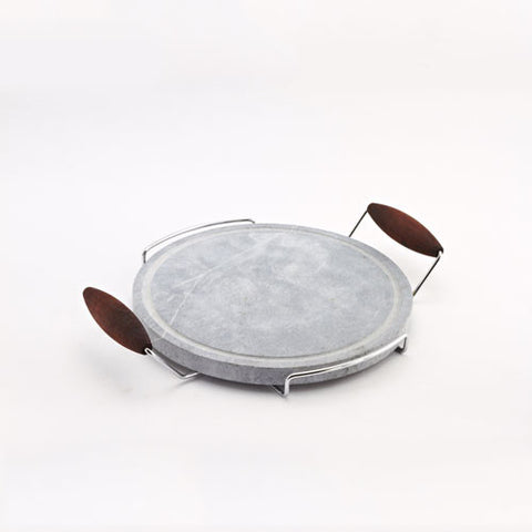 Bisetti Round Cooking Stone with Chromed Frame Beechwood Handles and Walnut Finish