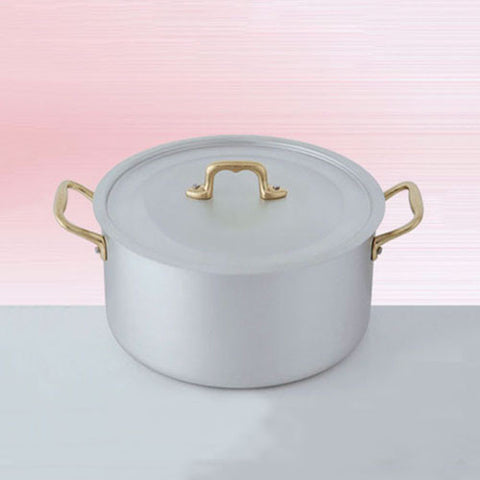 Ottinetti Brushed Aluminum Deep Sauce Pan with Copper Lid, 22-cm / 8.66-in