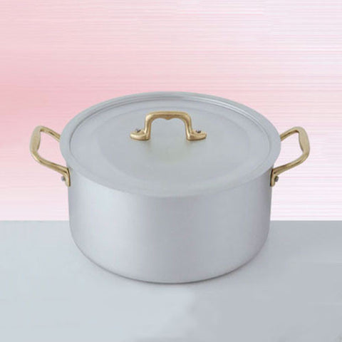 Ottinetti Brushed Aluminum Deep Sauce Pan with Copper Lid, 24-cm / 9.45-in