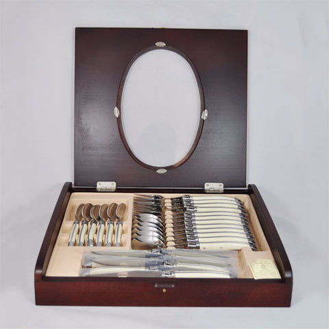 Laguiole Stainless Steel 24-Piece Flatware Set, Ivory Cream by Jean Neron