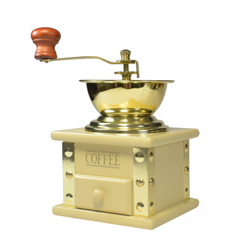 Bisetti Manual Coffee Grinder With Attached Cream Laquered Wood Storage Container