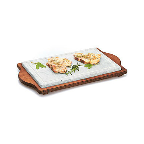 Bisetti Big Rectangular Cooking Stone With Walnut Base
