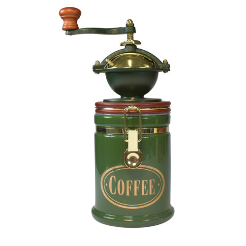Bisetti Manual  Coffee Grinder With Large Green Attached Ceramic Storage Container