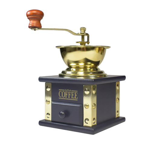 Bisetti Manual  Coffee Grinder With Attached Blue Laquered Wood Storage Container