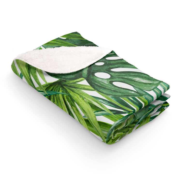 Tropical Palms Sherpa Fleece Blanket