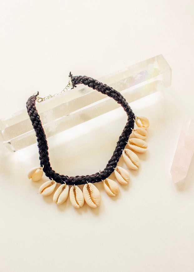 Cowrie Shell Choker Black Necklace