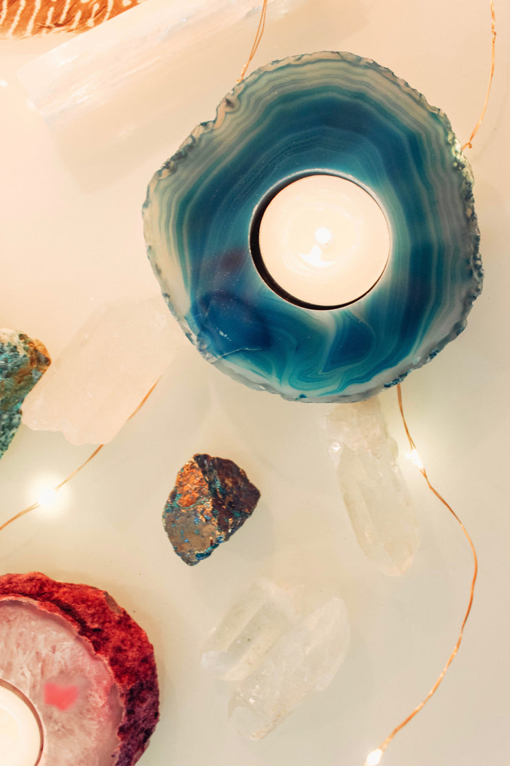 Agate Crystal Candle Holder