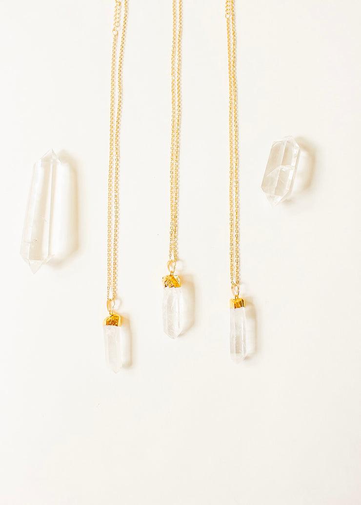 Crystal Quartz Gold Point Necklace