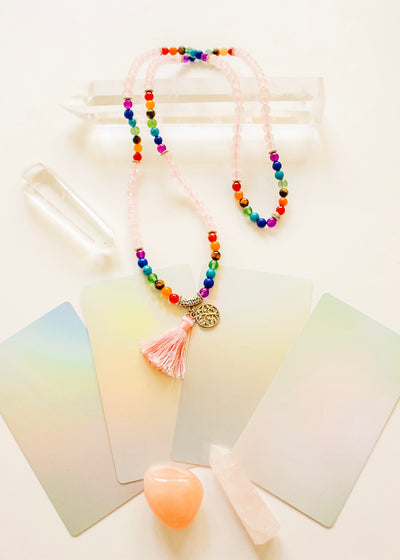 Rainbow Rose Quartz Mala Beads