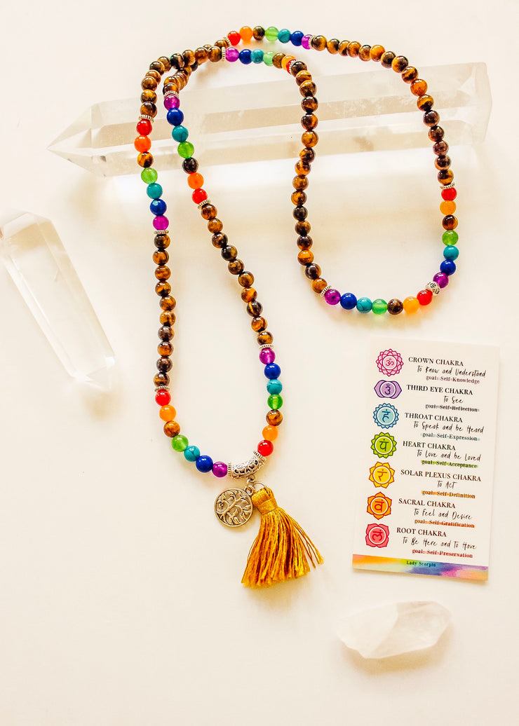 Rainbow Tigers Eye Mala Beads