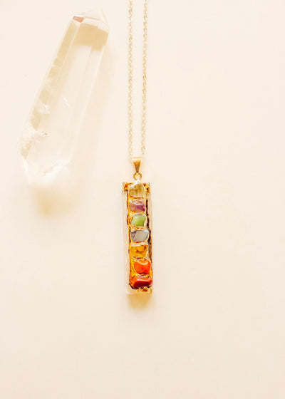 Chakra Selenite Necklace