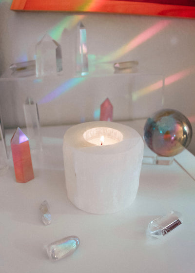 Selenite Cylinder Candle Holder