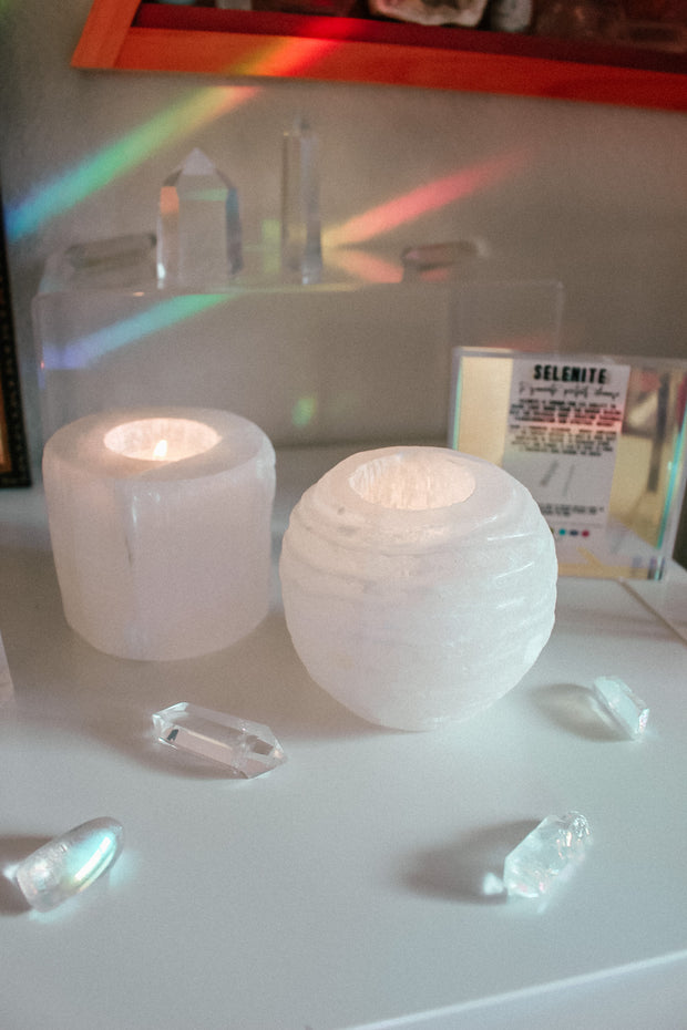 Selenite Sphere Candle Holder