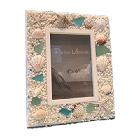 Assorted Seashells Beach Picture Frame