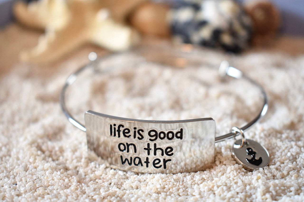 Sterling Silver Life Is Good On The Water Bangle Bracelet