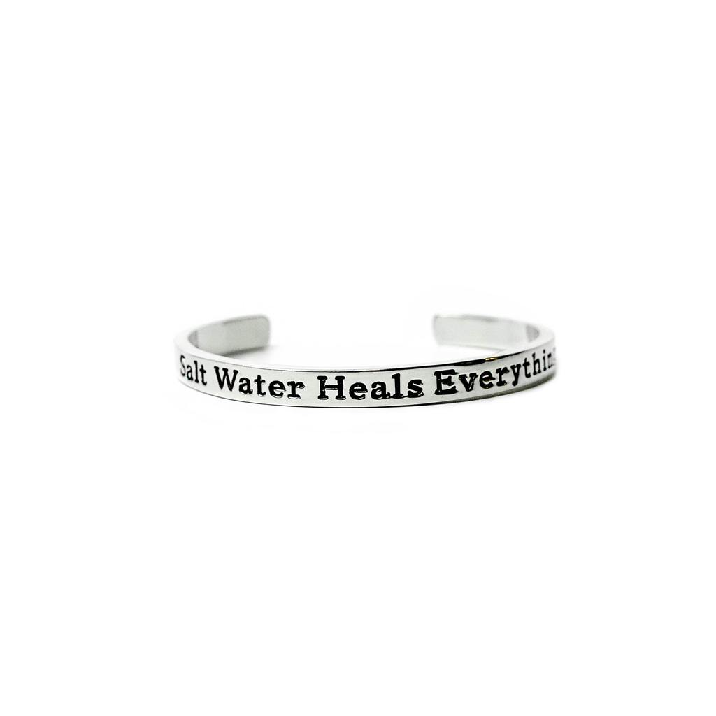 Sterling Silver Salt Water Heals Everything Cuff Bracelet