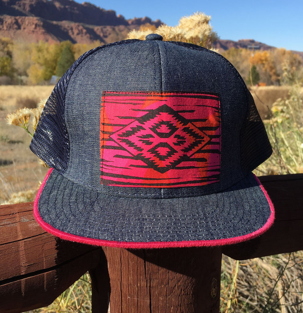 Southwest Pattern Denim Mini Brim Trucker