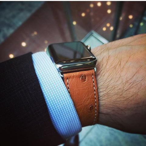 Handmade Apple Watch Strap - Gold Ostrich Leather