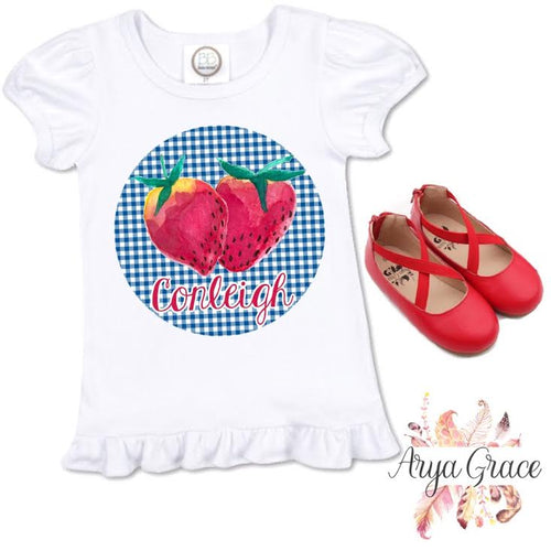 Blue Gingham Strawberry Circle Graphic Tee
