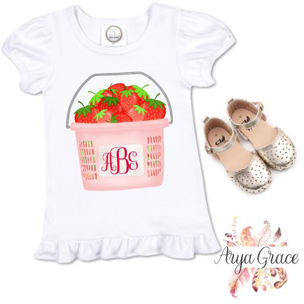 Pink Strawberry Bucket Graphic Tee