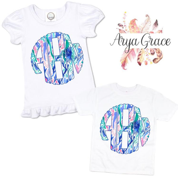 Blue Floral Scalloped Monogram Graphic Tee