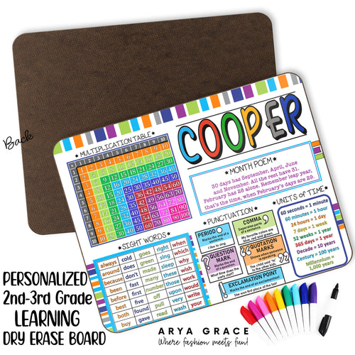 Personalized 2nd-3rd Grade Learning Dry Erase Board
