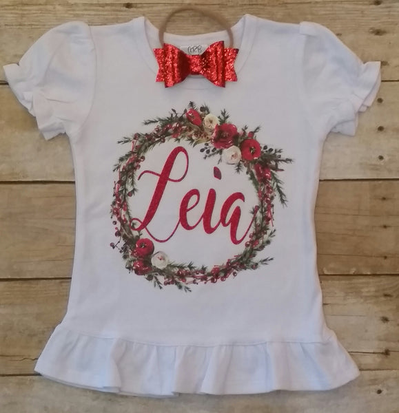 Personalized Christmas Vinyl Wreath Tee