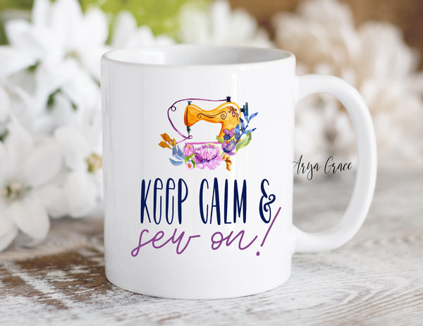 Keep Calm & Sew on Coffee Mug
