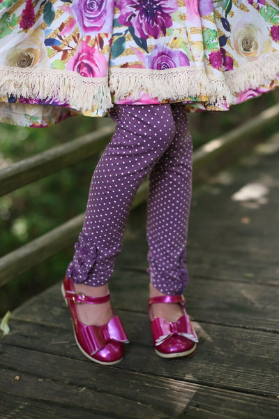 Eggplant Polka Dot Button Leggings