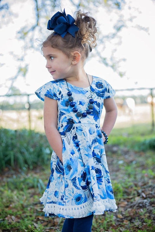 Blue Floral Watercolor Tunic