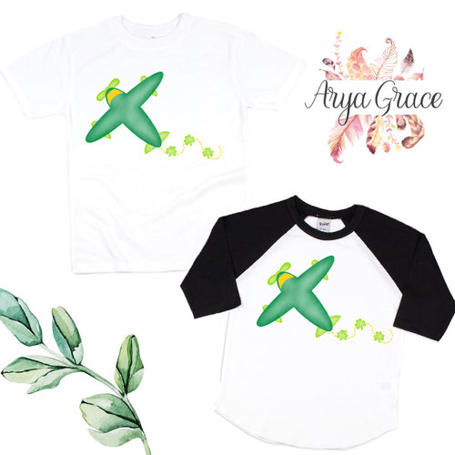 Shamrock Airplane Graphic Tee {Infant/Toddler Youth}