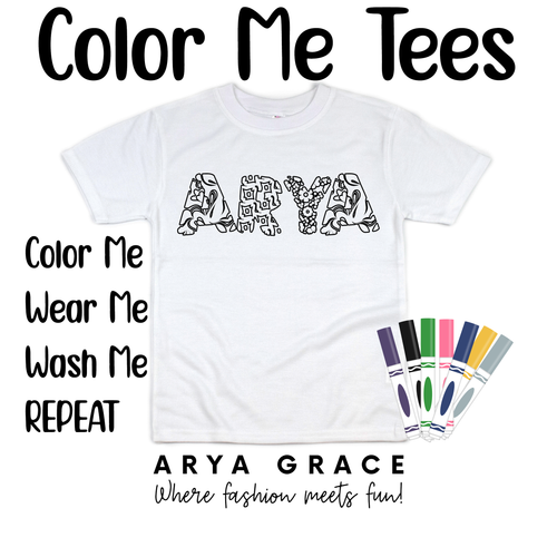 Patchwork Font Color Me💙Name Graphic Tee {Toddler/Youth Sizing}