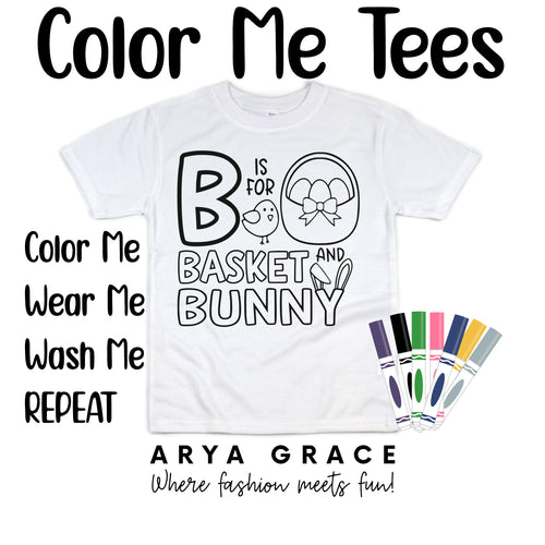 B is for Bunny and Basket Color Me💙Graphic Tee {Toddler/Youth Sizing}