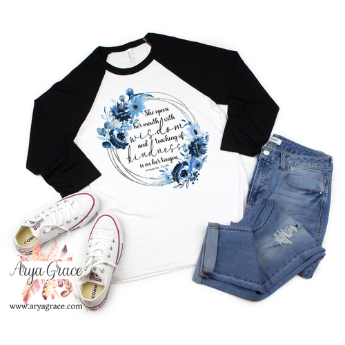 Blue Floral Proverbs 31:26 Wreath Graphic Tee {Unisex Adult Sizing}